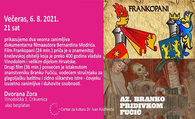 Večeras – filmovi o Frankopanima i Branku Fučiću